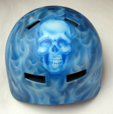 Blue Real Fire Skull helmet
