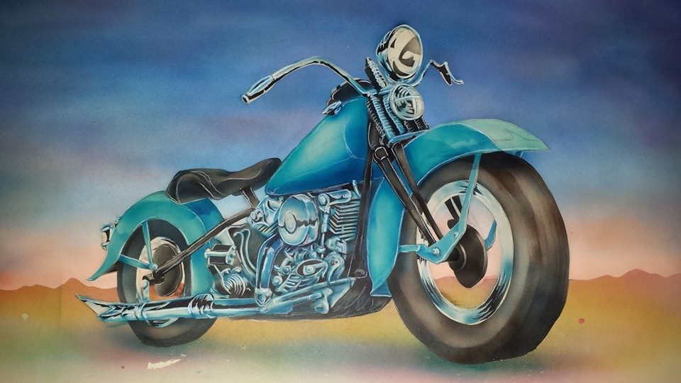 Airbrushed motorcycle painting