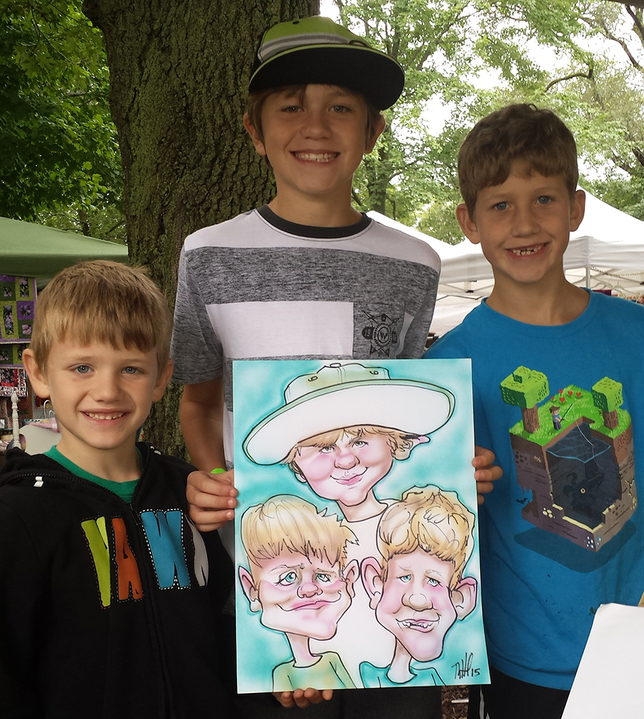 group caricature Middleton_Good_neighbor_Festival in marker and airbrushed color