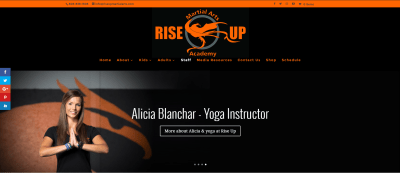 rise up martial arts website design wordpress