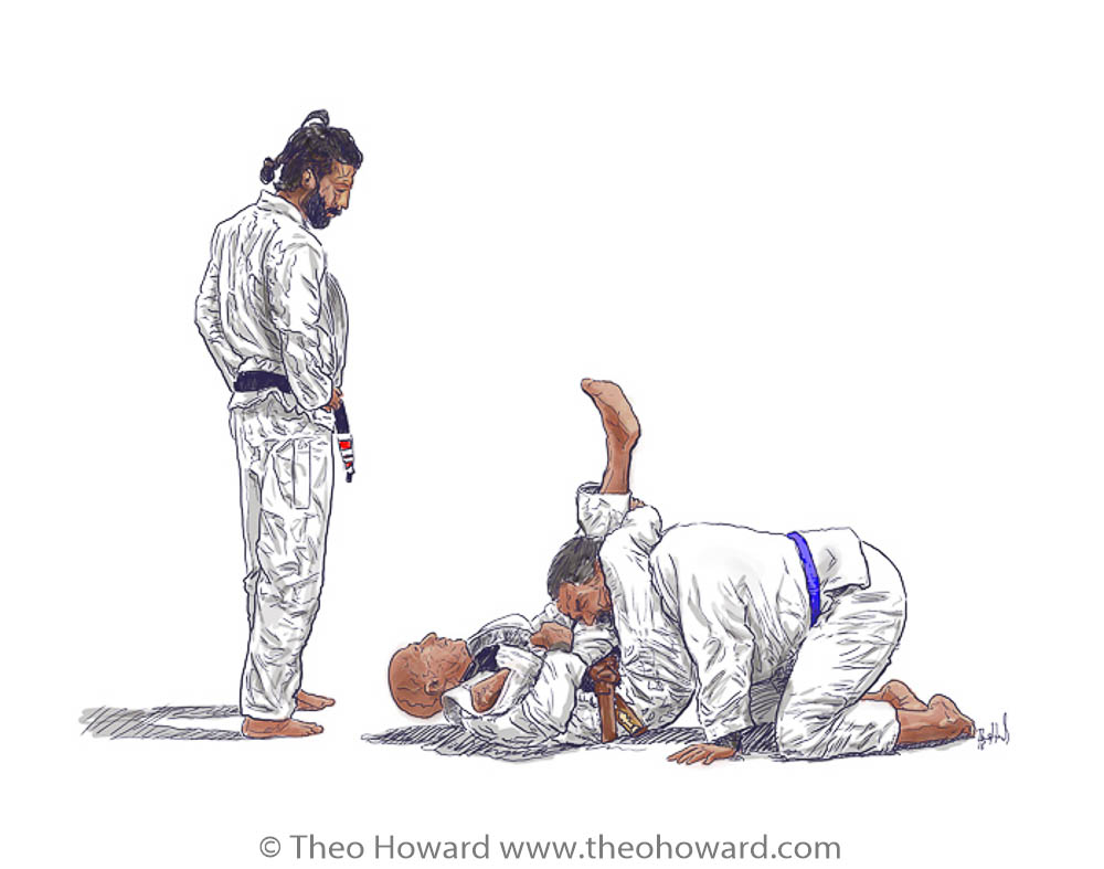 Thales Blaso watching over two students practicing BJJ triangle choke