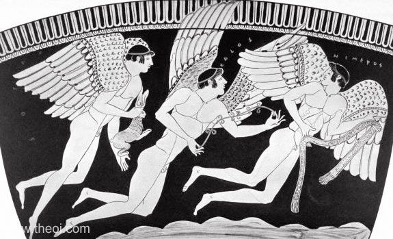 Eros, Himerus & Pothos, gods of love & desire | Greek vase, Athenian red figure stamnos