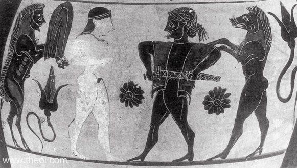 Circe & Odysseus | Pseudo-Chalcidian back figure vase painting