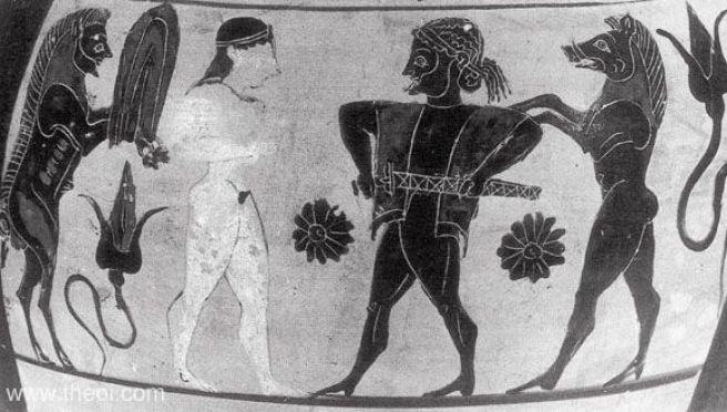 Circe & Odysseus   Pseudo-Chalcidian back figure vase painting