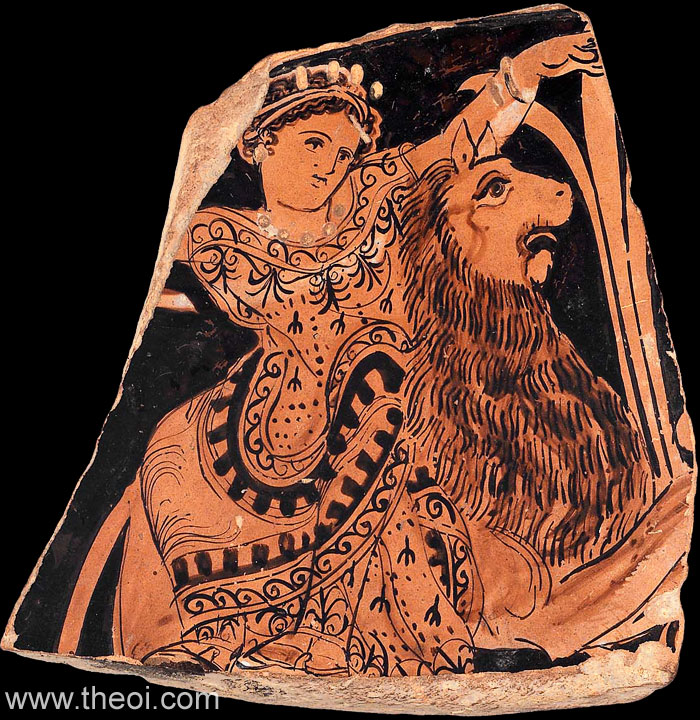 Cybele riding lion | Athenian red-figure vase fragment | Museum of Fine Arts, Boston