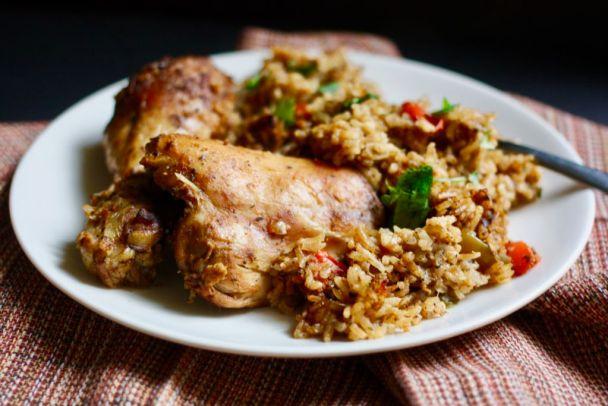 Braised Chicken With Spanish Rice