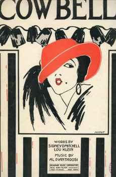 Cowbells Vintage Sheet Music 1922 Sidney Mitchell Al Piantadosi Perret Art Deco Cover Art