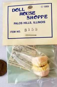 Full Set Dentures Dental Chart Dentist Office Doll House Shoppe Dollhouse Miniature 1:12 Scale