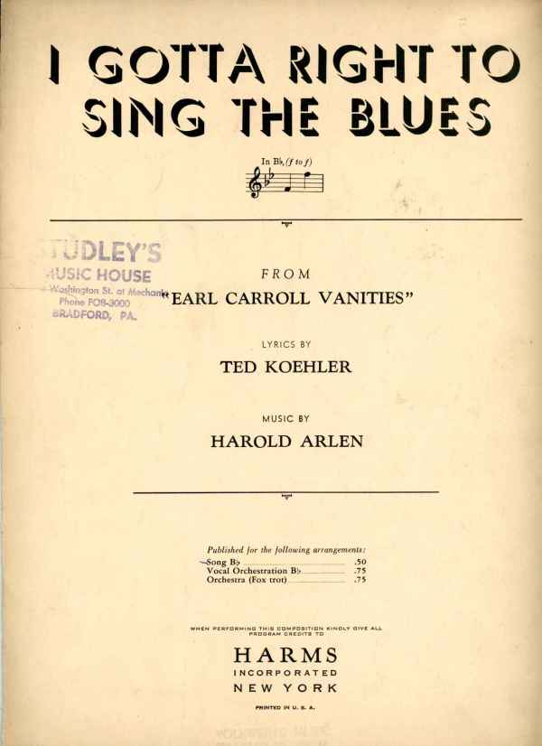 I Gotta Right to Sing The Blues Vintage Sheet Music 1932 Earl Carroll Vanities Harold Arlen