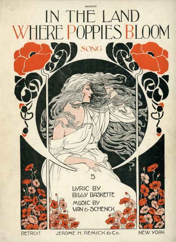 In The Land Where Poppies Bloom Vintage Sheet Music 1918 Art Nouveau Cover Van Schenck