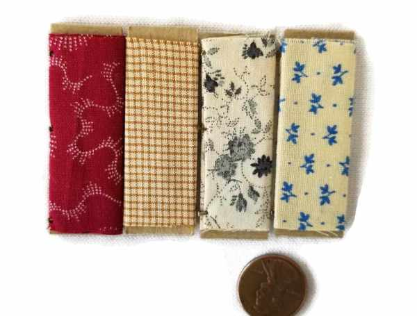 Sewing Craft Room Store Fabric Bolts Set of 4 Dollhouse Miniatures 1:12 Scale