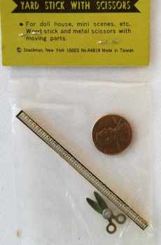 Yardstick Ruler Scissor for Sewing Crafts Display Dollhouse Miniature 1:12 Scale