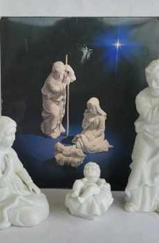 Avon Vintage Christmas Nativity The Holy Family Mary Joseph Jesus White Porcelain Bisque Figurines 1981