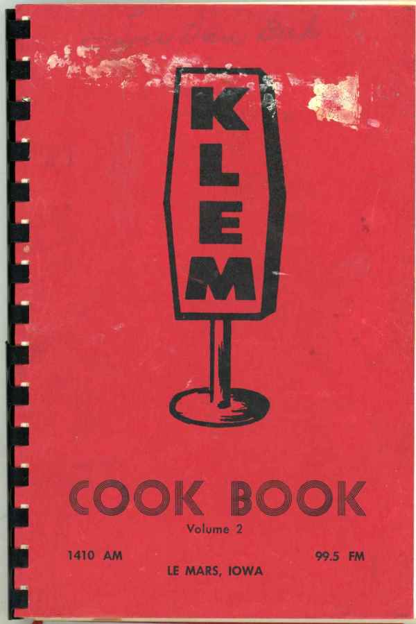 KLEM Cook Book Le Mars Iowa Vintage Community Cookbook 1950's Radio Station
