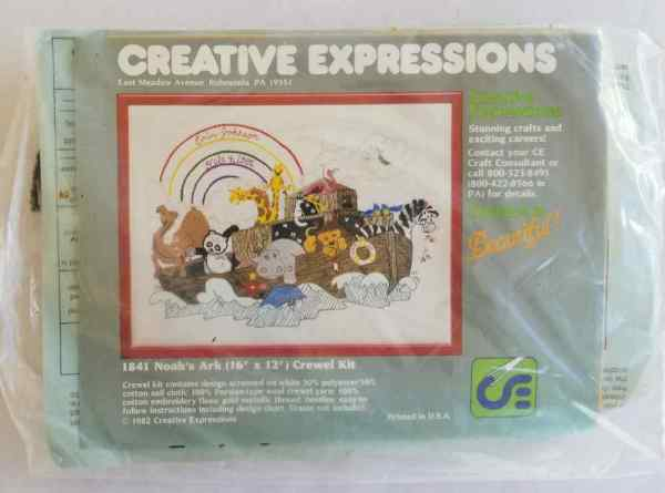 Creative Expressions Crewel Embroidery Kit Noah's Ark Animals Number 1841 Vintage 1982