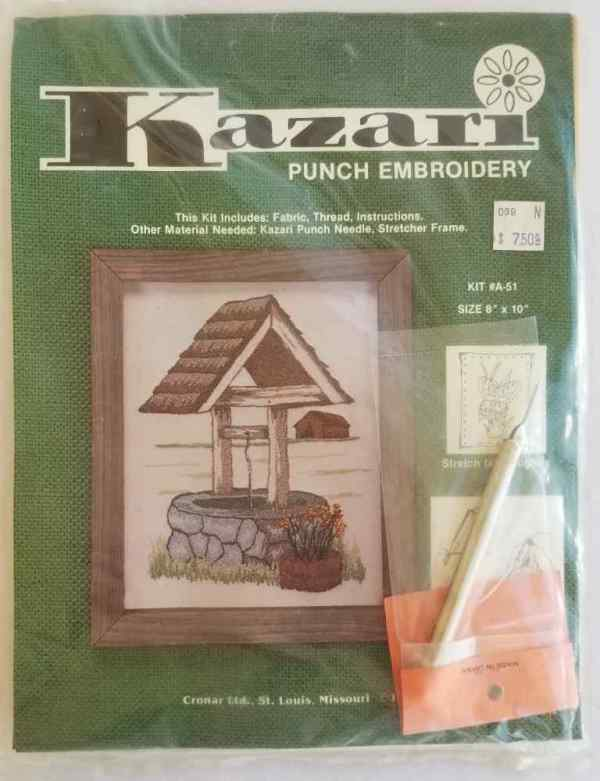 Kazari Punch Embroidery Kit Country Wishing Well Number A-51 Vintage 1979