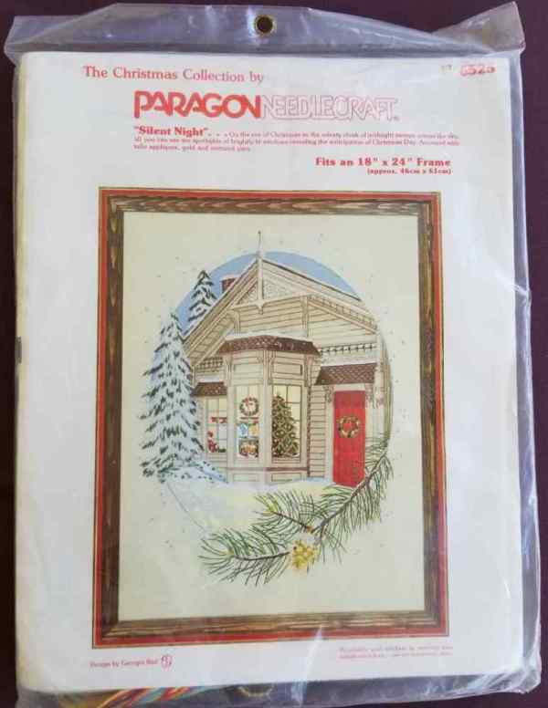 Paragon Needlecraft Silent Night Christmas Fireplace Number 6525 1979 Vintage Embroidery Kit