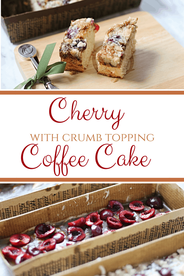 This Cherry Coffee Cake with Crumb Topping is the perfect treat to accompany your morning coffee, and even better to serve to company! #CoffeeCake #CherryCoffeeCake #CrumbTopping