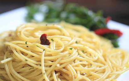 Spaghetti with olive oil, garlic and chillies