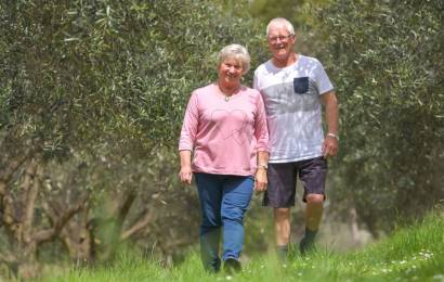 Tony and Carol O'Neill in their Olive Grove in Tasmania