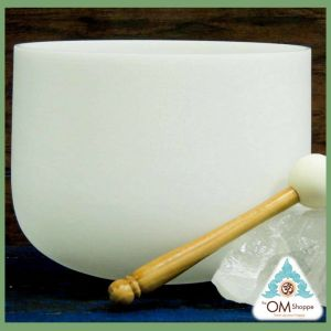 10 INCH CRYSTAL SINGING BOWL NOTE F HEART CHAKRA AVAILABLE AT THE OM SHOPPE AND SPA INCLUDES O RING AND STRIKER FREE SHIPPING
