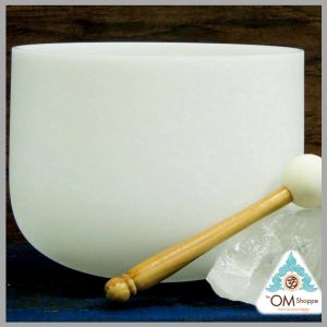 CHAKRA CROWN NOTE B 9 INCH CRYSTAL SINGING BOWL WITH O RING AND STRIKER FREE SHIPPING THE OM SHOPPE