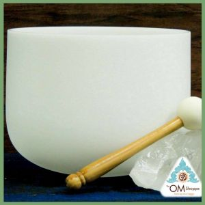 CHAKRA HEART NOTE F 9 INCH CRYSTAL SINGING BOWL WITH O RING AND STRIKER FREE SHIPPING THE OM SHOPPE