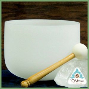 CHAKRA HEART 8 INCH CRYSTAL SINGING BOWL WITH STRIKER AND ORING NOTE C