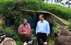 Peter Jackson and PM John Key talk with media, announcing the first Hobbit will premiere in Wellington in November 2012.