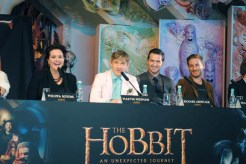 Philippa Boyens (l to r) Martin Freeman, Richard Armitage and Dean O'Gormann react to a question from the media. The reporter asked Freeman if he could eat dinner with anybody, living or dead, who it would be. Martin seemed a little stunted by the question.
