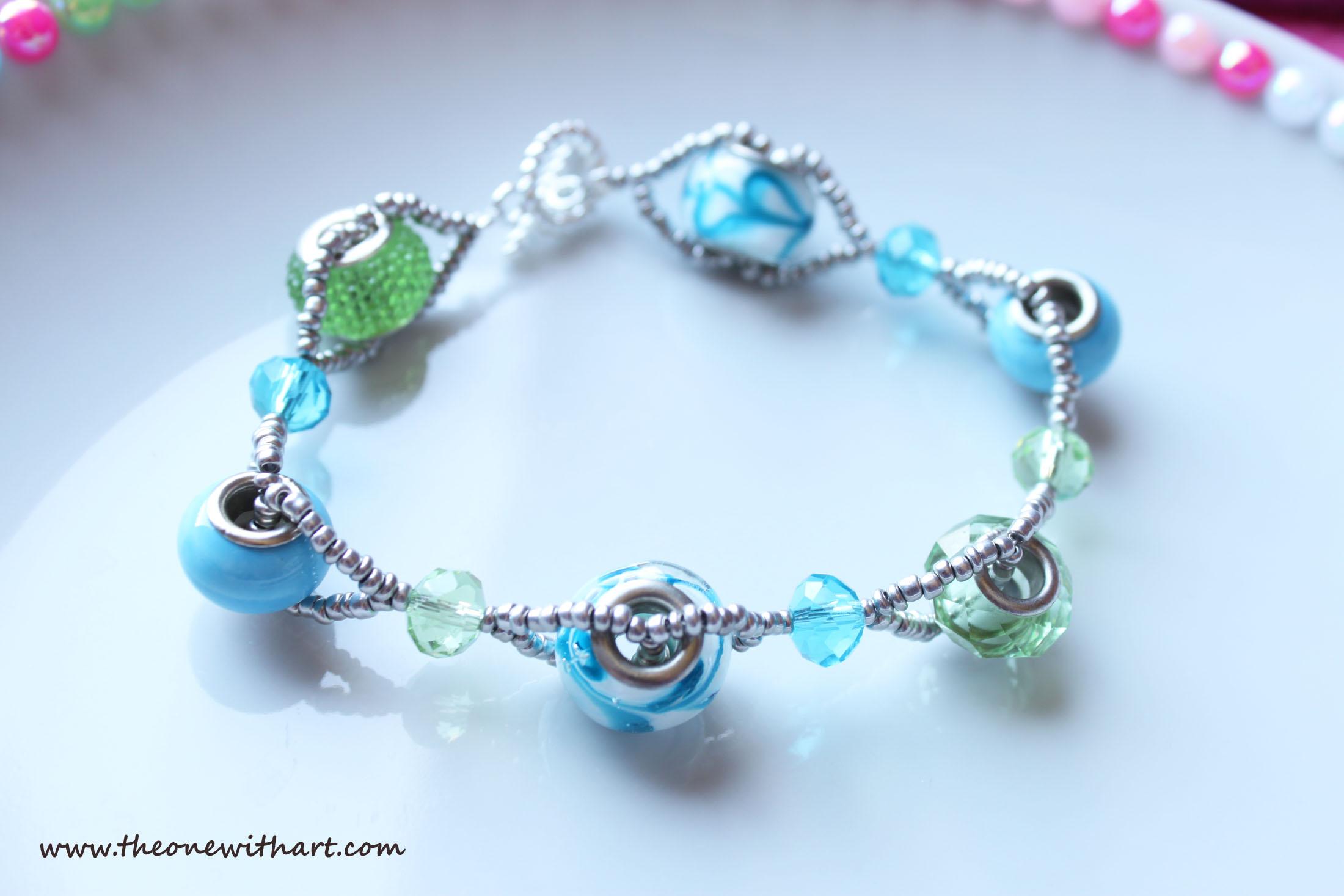 double strand beaded bracelet tutorial, double wire beaded bracelet