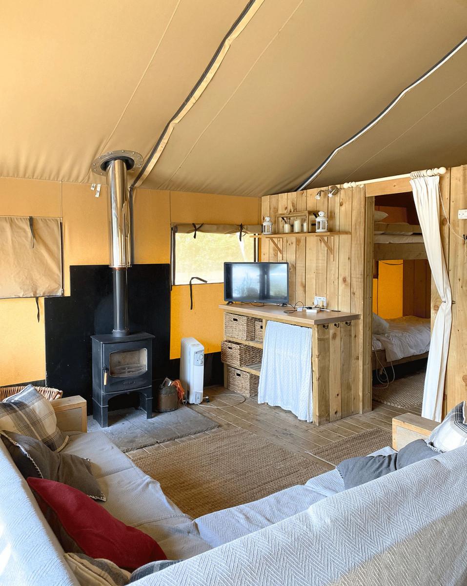Sumners Ponds Safari Tent with wood burner