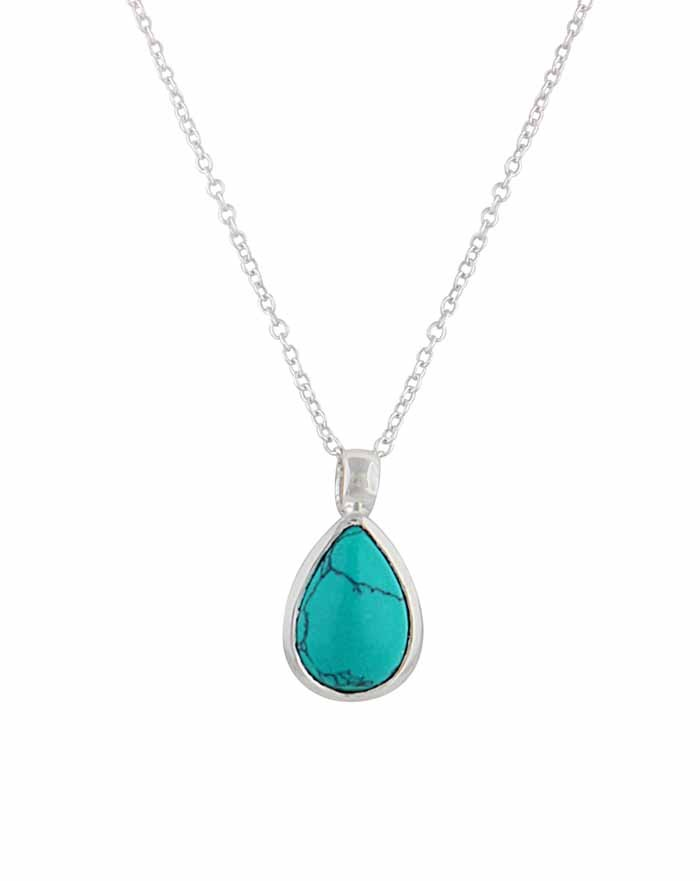 Teardrop Pendant Silver Turquoise Necklace The Opal
