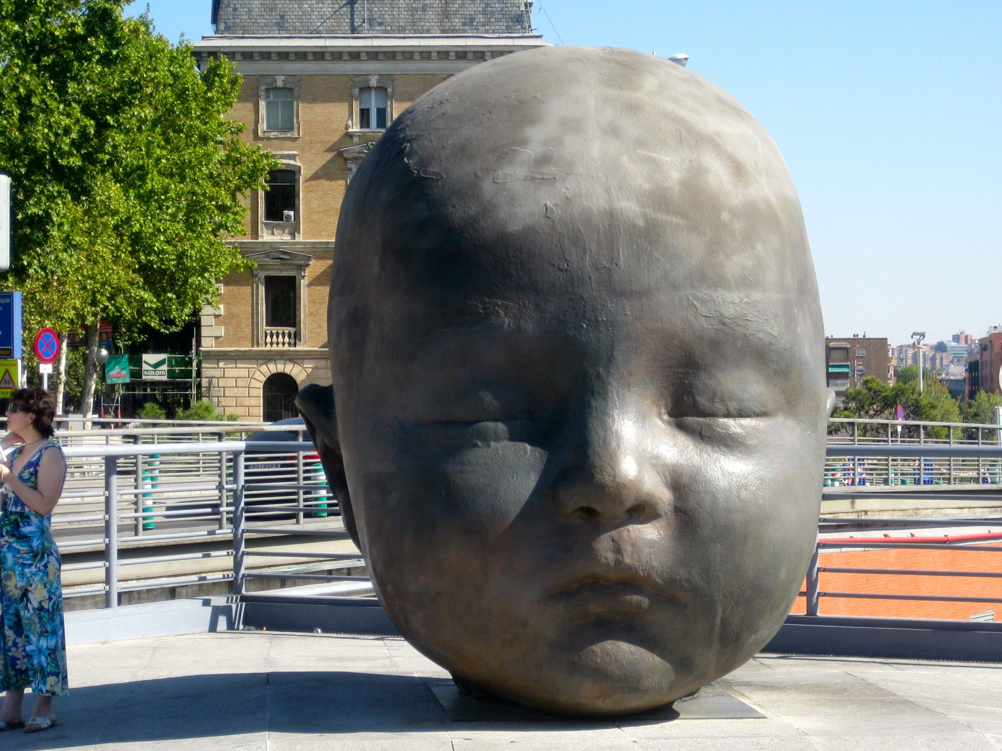 baby head statue at Atocha Station Madrid