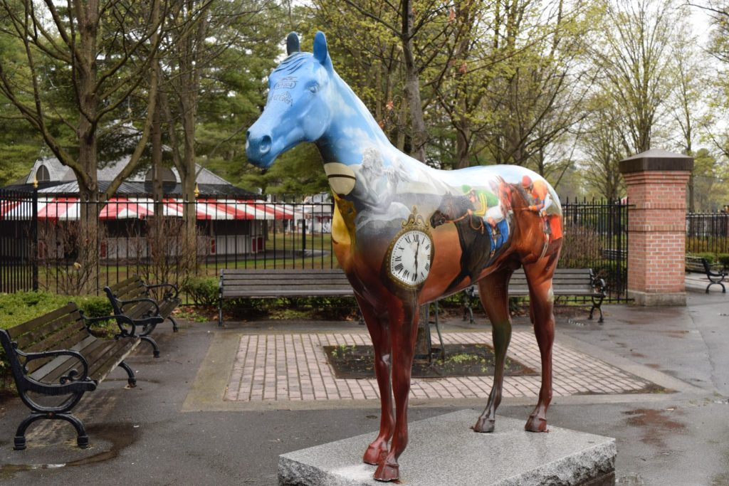 Colorful horse at the entrance to the Saratoga racetrack - visiting is one of the things to do in Saratoga Springs NY