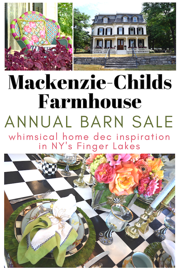 Pinnable image for Mackenzie-Childs Farmhouse annual barn sale NY Finger Lakes