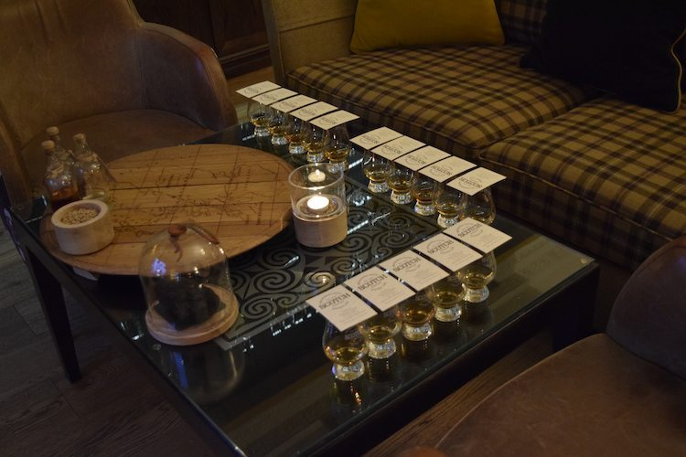 Table set for an Edinburgh scotch tasting.
