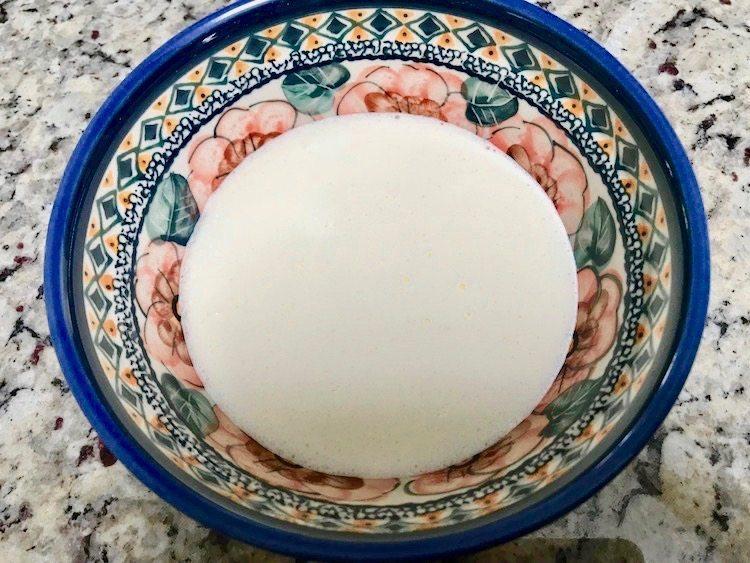 cream in pretty polish pottery bowl