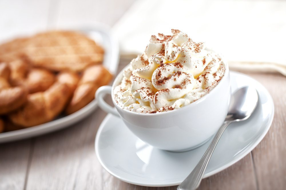 cup of hot chocolate with whip cream - making whipped cream