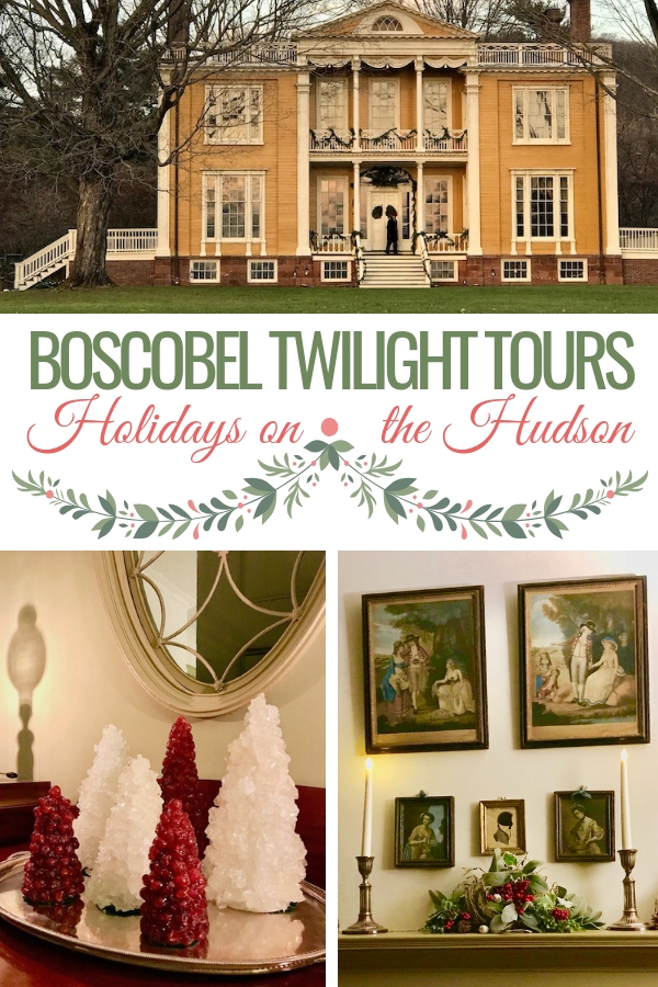 Boscobel is one of the grand historic homes on the Hudson River. A quick train trip from NYC gets you there during the holidays for twilight tours. It's a wonderful way to have family fun during the Christmas season. #hudsonvalley #nycgetaway #historichudson