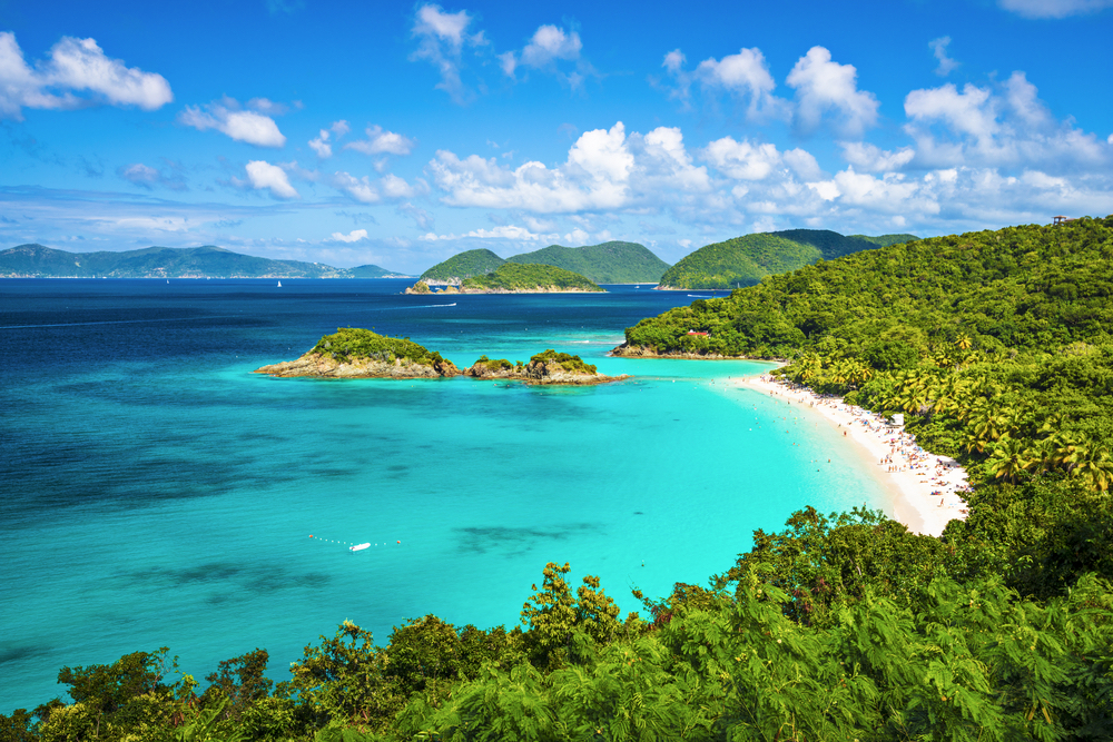 Isolated stretch of beach to enjoy on a spring beach vacation in the Caribbean islands