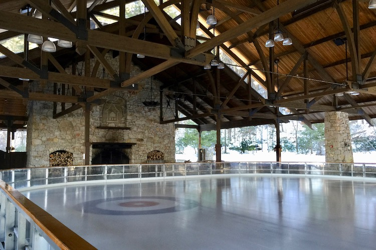 Mohonk Mountain House ice skating pavilion, a beautiful Hudson Valley ice skating rink