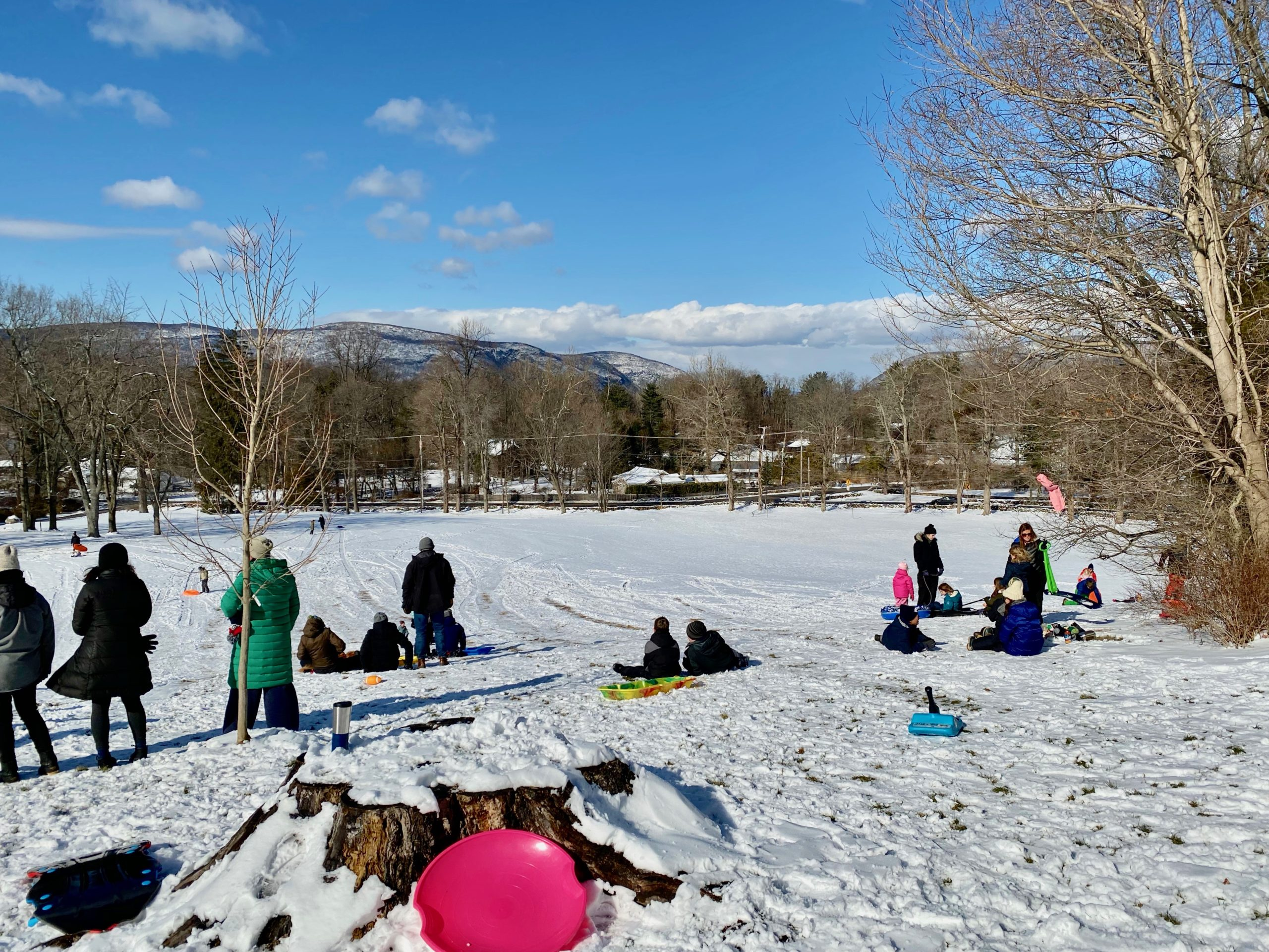 families sledding in the Hudson Valley at Winter Hill in Garrison