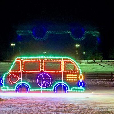 neon vw van at bethel woods drive through holiday lights show