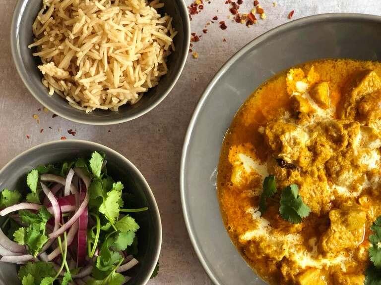 Chicken Korma with pilau rice