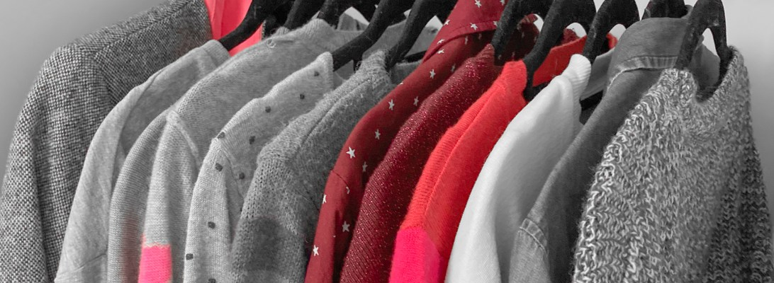 Theoretical minimalist capsule wardrobe decluttering shopping