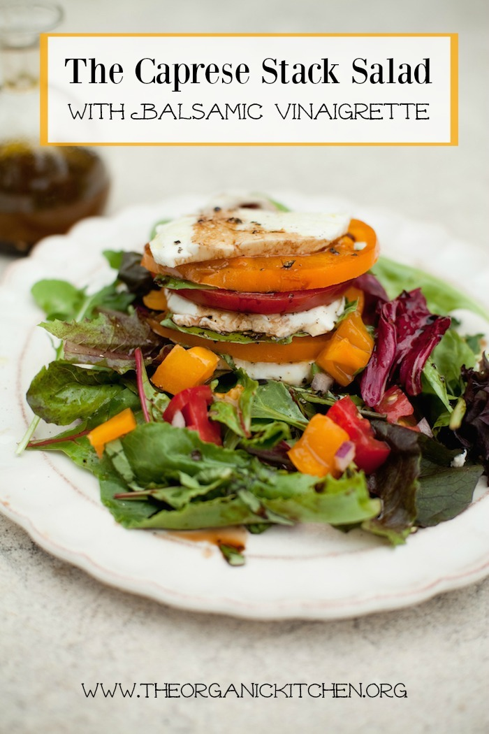 The Caprese Stack Salad on white plate