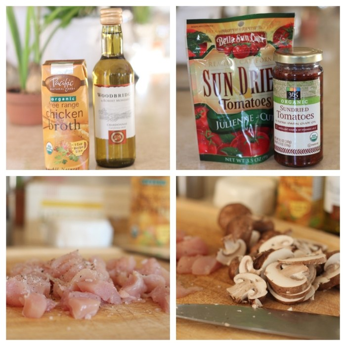 A series of four photos showing ingredients used in Linguini with Chicken and Goat Cheese
