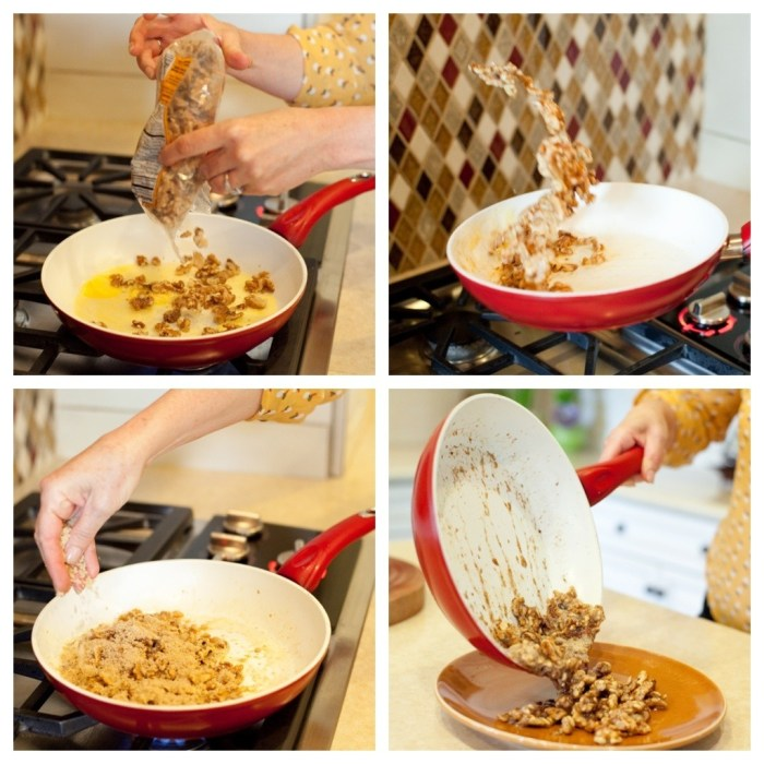 A female demonstrating how to make sugared nuts for use in Apple and Avocado Salad with Tangerine Dressing