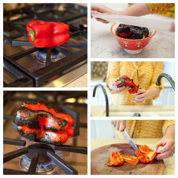 A series of photos depicting How to Roast a Red Bell Pepper. 1. Red pepper on open cooktop flame. 2. Red pepper charred black by flame. 3. Red pepper in a bowl with female's hand covering bowl with plactic. Felmale removing charred skin from red bell pepper over the sink. Female hands holding a knife, slicing red bell pepper